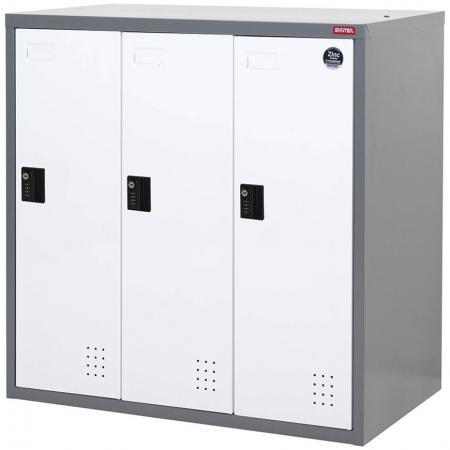 안전한 보관을 위한 낮은 금속 로커, 단일 계층, 3개 구획 - 메탈 스토리지 로우 로커, 싱글 티어, 3개 구획