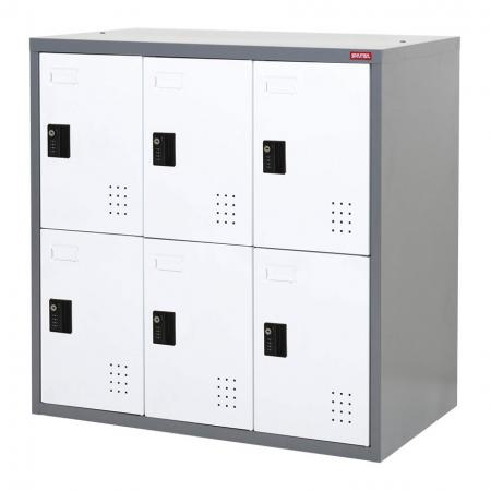 Low Metal Locker for Secure Storage, Double Tier, 6 Compartments