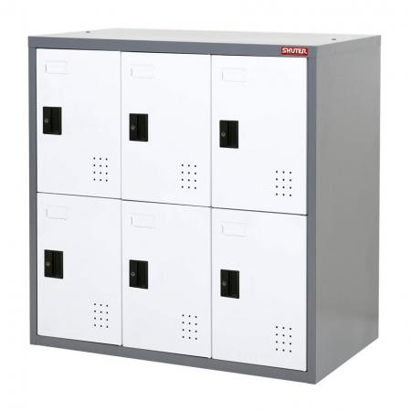 Metal Locker for Secure Storage - 6 Doors in 3 Columns - Lockable metal cabinet to stow-away big household, office or factory items.