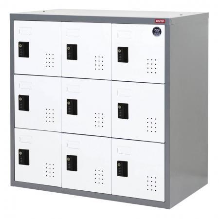 안전한 보관을 위한 낮은 금속 로커, 3중 계층, 9개 구획 - 메탈 스토리지 로우 로커, 트리플 티어, 9개 구획
