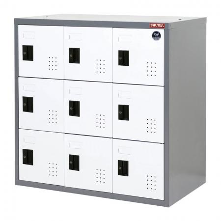 Metal Locker for Secure Storage - 9 Doors in 3 Columns - Metal cabinet with key lock to use as storage of personal or expensive items or those requiring protection.