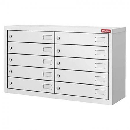 Metal Locker for Cell Phones and Digital Devices - 10 Doors in 2 Columns - Many-use electronic safety lockers carefully designed to stow away the digital devices of employees or visitors. With metal doors, this cabinet is designed for private use by staff members in factories or offices to securely store personal digital devices.
