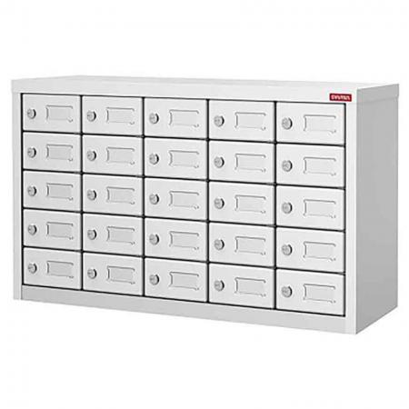 Metal Locker for Cell Phones and Digital Devices - 25 Doors in 5 Columns - Secure employees or visitor locker featuring rubber pad in each drawer.