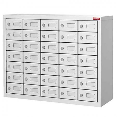 Metal Storage Locker for Cell Phones and Digital Devices - 35 Doors in 5 Columns - Secure locker with EVA pads in drawers for use in industrial settings.
