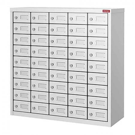Metal Storage Locker for Cell Phones and Digital Devices - 45 Doors in 5 Columns - Small digital object locker with digital lock and a grey EVA drawer pad.