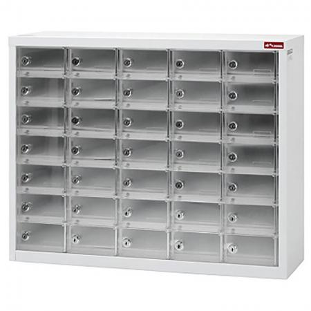 Metal Storage Locker for Cell Phones and Digital Devices - 35 Transparent Doors in 5 Columns - Metal Storage Locker for Cell Phones and Digital Devices - 35 Transparent Doors in 5 Columns