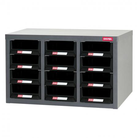 Metal Storage Tool Cabinet for Use in Industrial Workspaces - 12 Drawers in 3 Columns - Industrial storage cabinet with drawers for storing hardware items.