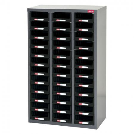 Metal Storage Tool Cabinet for Use in Industrial Workspaces - 36 Drawers in 3 Columns - A sturdy parts cabinet specially designed to suit any industrial setting.