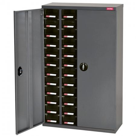 Metal Storage Tool Cabinet with Doors for Use in Industrial Workspaces - 48 Drawers in 4 Columns - Organize your workspace with this lockable, private SHUTER steel parts cabinet.