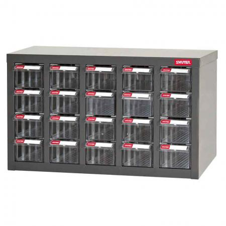 Metal Storage Tool Cabinet for Use in Industrial Workspaces - 20 Drawers in 5 Columns - Compact, worktop steel parts cabinet designed by SHUTER for industrial workspaces.
