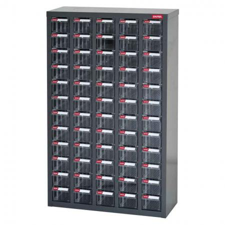 Metal Storage Tool Cabinet for Use in Industrial Workspaces - 60 Drawers in 5 Columns - Truly the best drawer cabinet on the market for storage of small parts in industrial settings.