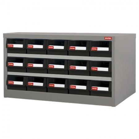 Metal Storage Tool Cabinet for Use in Industrial Workspaces - 15 Drawers in 5 Columns