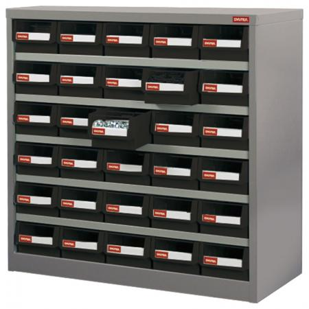 Metal Storage Tool Cabinet for Use in Industrial Workspaces - 30 Drawers in 5 Columns - No-drop drawers are a key feature of this SHUTER industrial parts cabinet crafted from steel.