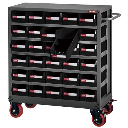 Metal Storage Tool Cabinet for Industrial Workspace Use - 30 Drawers in 5 Columns, Wheels, Handle - Drawer-style storage cabinet on caster and with handle for use in industrial settings.