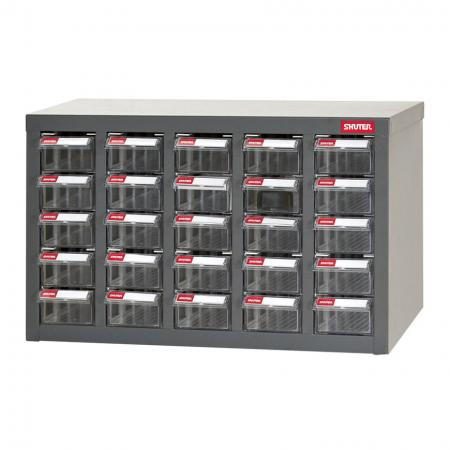Metal Storage Tool Cabinet for Use in Industrial Workspaces - 25 Drawers in 5 Columns - SHUTER combines industrial strength and good looks in this drawer cabinet for small parts.