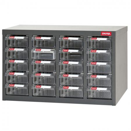 Metal Storage Tool Cabinet for Use in Industrial Workspaces - 20 Drawers in 4 Columns - Get your small parts and tiniest tools organized with SHUTER's range of industrial steel parts cabinets.