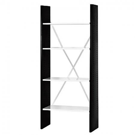4개의 조정 가능한 선반이 있는 사무용 책장 - 너비 75cm - 추가적인 안정성을 위해 크로스 백 브레이싱이 있는 계단 스타일의 가정 또는 사무실 책장.
