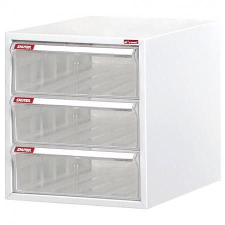 Steel File Cabinet with 2 plastic drawers and 1 deep drawer in 1 column for A4 paper - Superior style office cabinets filing and desktop storage.