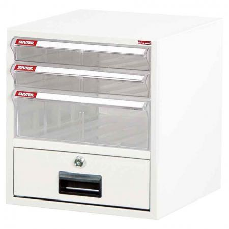 Steel File Cabinet with 3 plastic drawers and 1 lock drawer in 1 column for A4 paper - With transparent drawers and a lockable cabinet, this is the perfect desktop filing system.