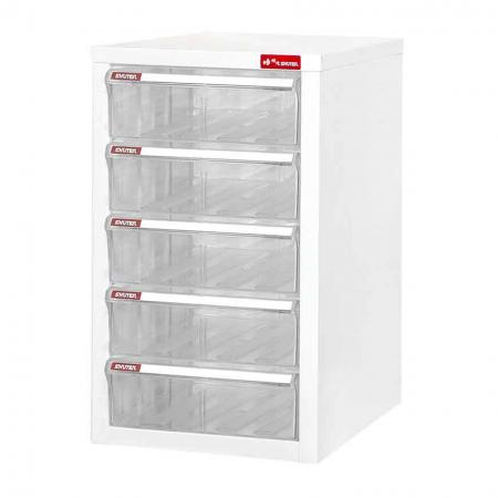 Steel File Cabinet with 5 plastic drawers in 1 column for A4 paper - This unit with larger sized drawers fits more documents than other SHUTER cabinets.