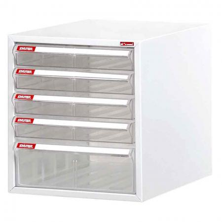 Steel File Cabinet with 4 plastic drawers and 1 deep drawer in 1 column for A4 paper
