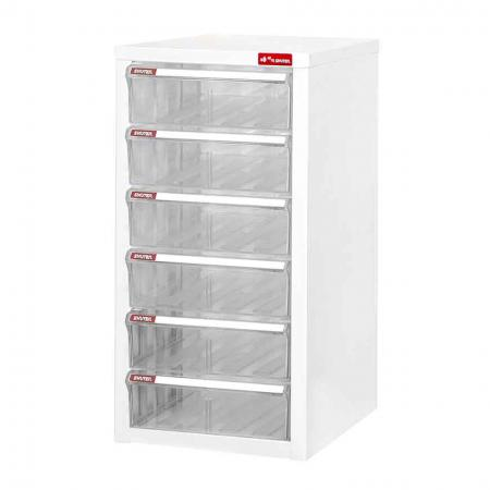 Steel File Cabinet with 6 deep drawers in 1 column for A4 paper - A strong office filing cabinet for on- or off-desktop storage.