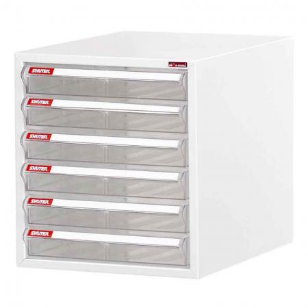 Steel File Cabinet with 6 shallow drawers in 1 column for A4 paper - Trust SHUTER to craft the very best desktop document drawer cabinets on the market.