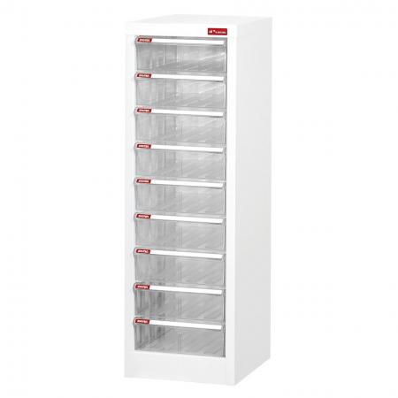 Steel File Cabinet with 9 plastic drawers in 1 column for A4 paper - Leading clear plastic desk drawer organizers for use in institutions, retail stores, and offices.