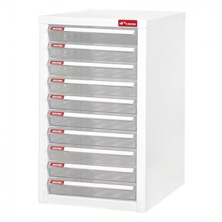 Steel File Cabinet with 10 plastic drawers in 1 column for A4 paper - Tall and strong, this SHUTER filing cabinet will solve all your office storage woes.