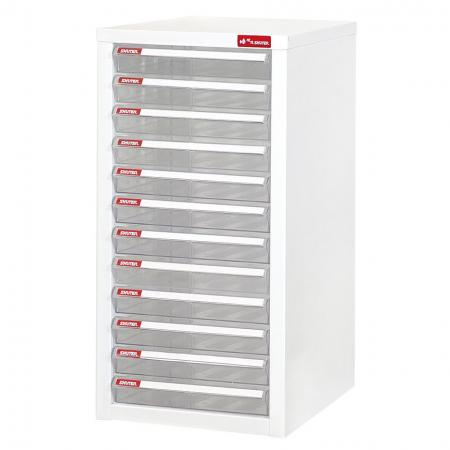 Steel File Cabinet with 12 plastic drawers in 1 column for A4 paper - Clear drawer cabinet for the library-like cataloging of documents and files.