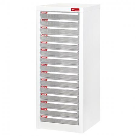 Steel File Cabinet with 15 plastic drawers in 1 column for A4 paper - In-office storage system for holding files, craft paper, or other such flat items on your desktop or under the desk.