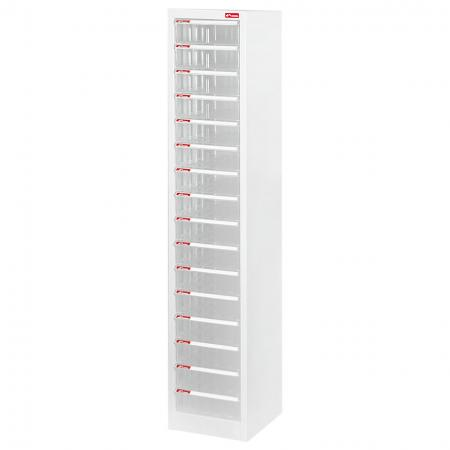 Steel File Cabinet with 16 plastic drawers in 1 column for A4 paper - Effective desktop file cabinet that can be used in any room or space in a home, garage, office, retail center or manufacturing line.