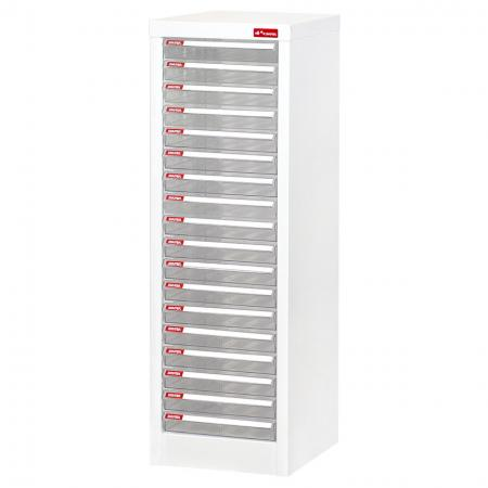 Steel File Cabinet with 18 plastic drawers in 1 column for A4 paper - Steel cabinet with multiple transparent drawers for the most efficient desktop storage on the market.