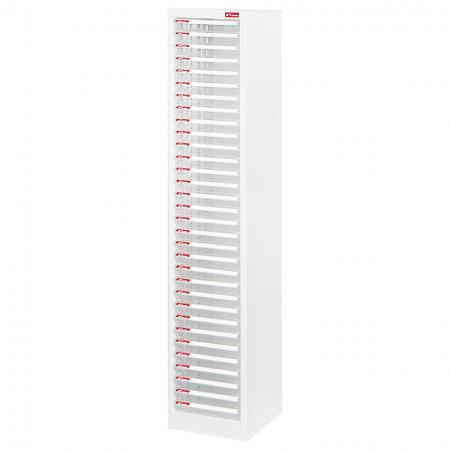 A4 용지용 1열에 32개의 플라스틱 서랍이 있는 스틸 파일 캐비닛 - 플라스틱 서랍이 있는 스틸 파일 캐비닛은 사무용으로 하나의 깔끔한 유닛에 모두 들어 있습니다.