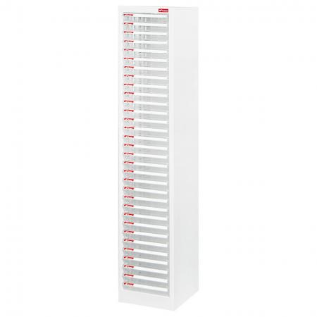 Filing Cabinet - 32 Pieces of A4 Size Shallow Drawers in 1 Column - Steel file cabinet with plastic drawers all contained in one neat unit for office use.