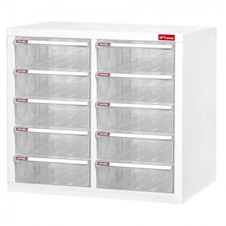 A4 용지용 2열에 10개의 플라스틱 서랍이 있는 스틸 파일 캐비닛 - 사무실이나 직장에서 문서를 보관할 수 있는 도서관과 같은 역할을 하는 투명 서랍이 있는 미니 스틸 파일 캐비닛입니다.