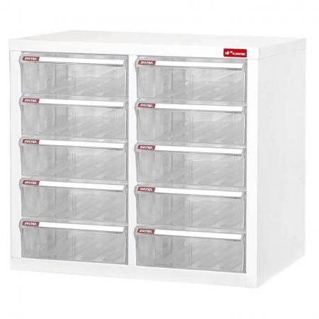 Steel File Cabinet with 10 plastic drawers in 2 columns for A4 paper - Mini steel filing cabinet with clear drawers that acts like a library for the storing of documents in the office or workplace.