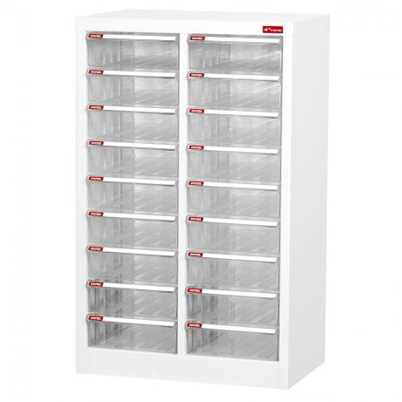 Steel File Cabinet with 18 plastic drawers in 2 columns for A4 paper - High class plastic filing drawer in a unique and stylish design.
