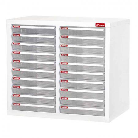 Filing Cabinet - 20 Pieces of A4 Size Shallow Drawers in 2 Columns - A4 file storage system with plastic drawers in a multi-layer arrangement all situated in an open-face metal cabinet.