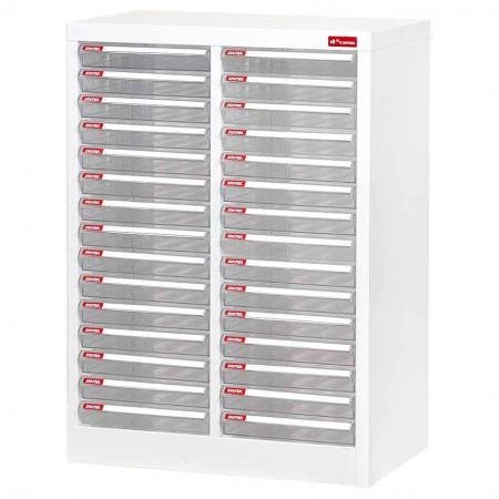 Steel File Cabinet with 30 plastic drawers in 2 columns for A4 paper - Made of high quality hard plastic with a smooth surface as well as strong steel material for the cabinet body.