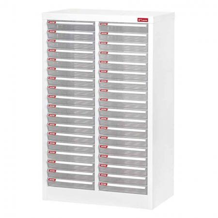 Steel File Cabinet with 36 plastic drawers in 2 columns for A4 paper - Reliable and well-wrought, this steel cabinet is the answer to all your filing issues.