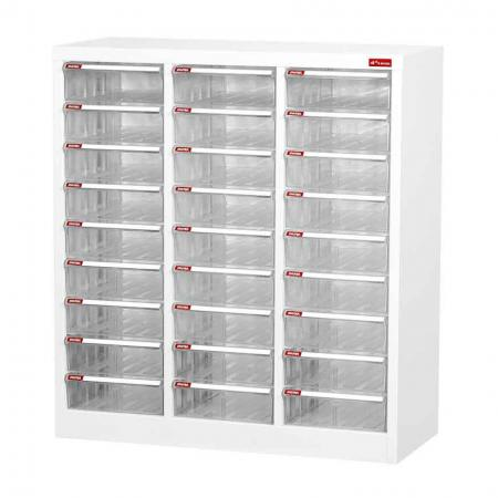 Steel File Cabinet with 27 plastic drawers in 3 columns for A4 paper - A4 paper storage tray and document files organizer for office desk or home workstation.