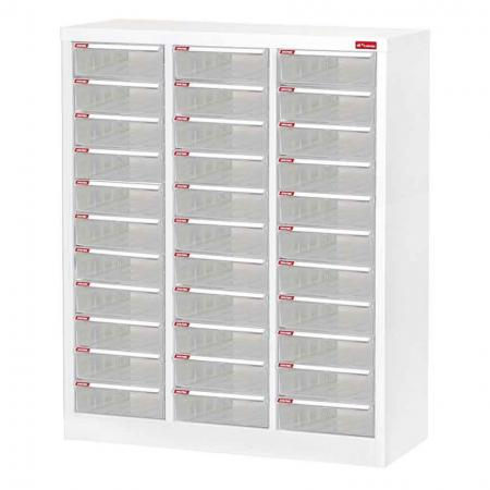 Steel File Cabinet with 33 plastic drawers in 3 columns for A4 paper - SHUTER is here to help you with its incredible, multi-drawer storage cabinet made of sturdy powder-coated steel.
