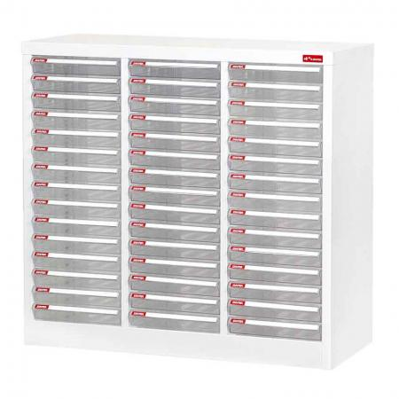 Steel File Cabinet with 45 plastic drawers in 3 columns for A4 paper - Office storage cabinet, file cabinet, and steel cabinet desktop storage all wrapped into one neat package.