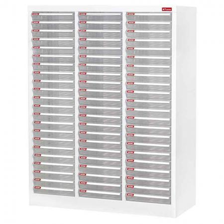 Steel File Cabinet with 66 plastic drawers in 3 columns for A4 paper - There are an unbelievable amount of file drawers squeezed into this intimidating steel cabinet for office use.