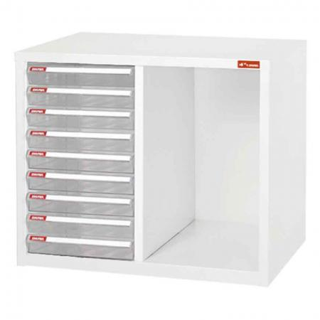 Steel File Cabinet with 9 plastic drawers and 1 storage cubby in 2 columns - Office storage collection of steel cabinets for folder and file organisation.