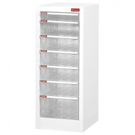 Filing Cabinet - 1 Pce A4 Shallow Drawer, 5 Pcs A4 Deep Drawers, 1 Pce A4 Large Drawer in 1 Column - Multi-drawer file storage cabinets fitted with hardwearing plastic drawers.