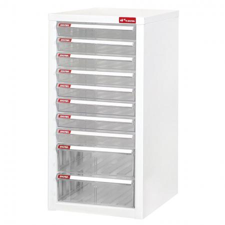 Filing Cabinet - 8 Pieces A4 Size Shallow Drawers and 2 Pieces A4 Size Deep Drawers in 1 Column - Under-desk or floor-set steel cabinet storage for office environments and more.