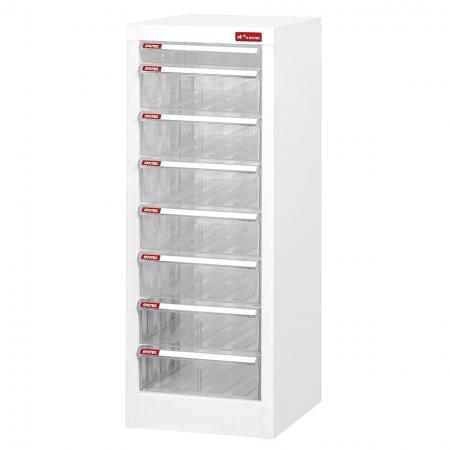 Filing Cabinet - 1 Piece of A4 Size Shallow Drawer and 7 Pieces of A4 Size Deep Drawers in 1 Column - Office school paper organizer with clear drawers that can be customized with your company logo.