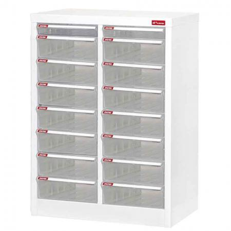 Steel File Cabinet with 14 large drawers and 2 plastic drawer in 2 columns for A4 paper - Keep stationery items all together in one handy office storage cabinet.